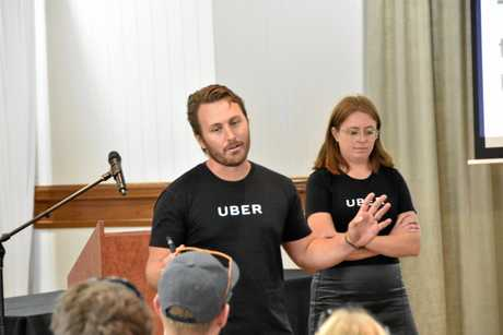 Uber Queensland state manager Alex Golden and Uber operations associate Rachel McDonnell at the Gladstone Uber information session.