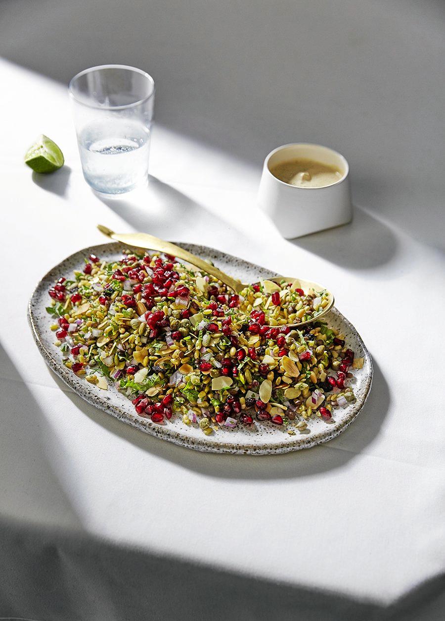 Freekah Pomegranate Kale Salad from the Aveo Cookbook