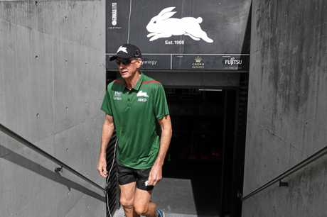 ON THE JOB: Former Brisbane Bronco's coach Wayne Bennett arrives to take up his new coaching position with the South Sydney Rabbitohs. INSET: Anthony Seibold turns up for Broncos duty.