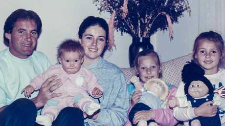 Chris Dawson with Joanne Curtis and three of his children's. Ms Curtis is the mother of the youngest child. Picture: Supplied.