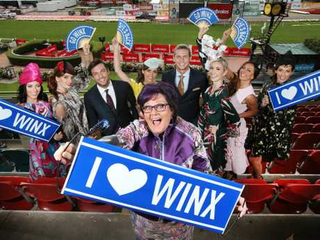 Winx part-owner Debbie Kepitis with Winx fans before the mare's historic fourth Cox Plate triumph. Picture: David Caird