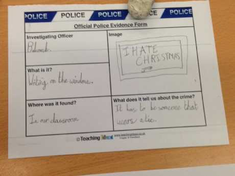 "A ""police evidence form"" used by the children taking part in the mystery Picture: MEN Media/australscope"