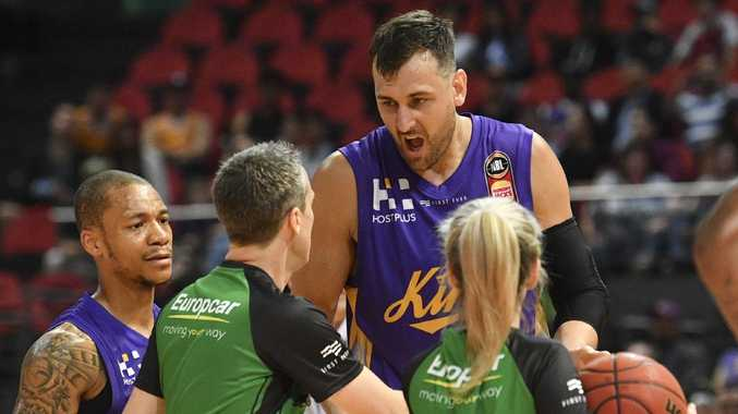 Andrew Bogut of the Kings makes a point to the refs.