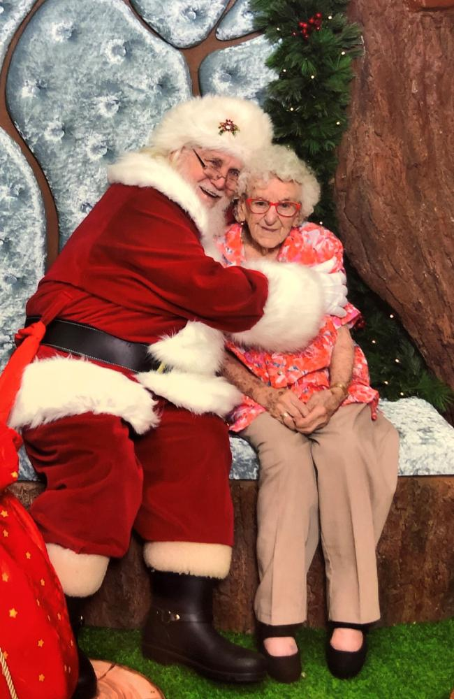 Centenarian Freda Aughton got her first Santa photo at the Hyperdome