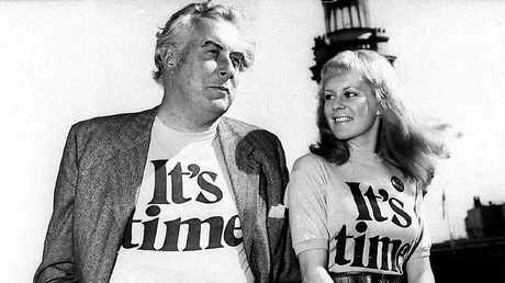 "Labor Leader Gough Whitlam, with singer Little Pattie during the ALP ""It's Time"" campaign for the 1972 Federal Election. Picture: News Corp"