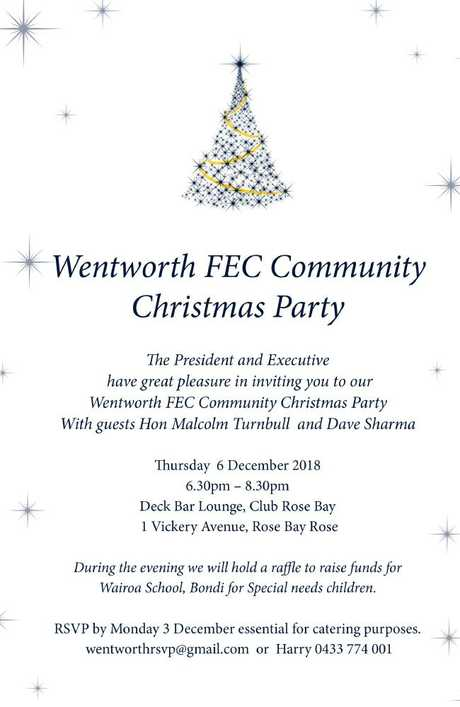 The invitation to the Wentworth FEC Christmas party.
