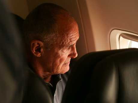 Chris Dawson on the flight to Sydney today. Picture: Lyndon Mechielsen/The Australian