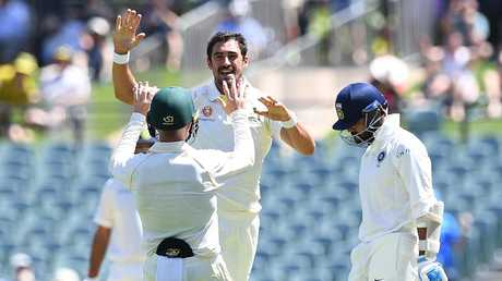 Mitchell Starc had a few light-hearted words for the India batsmen. Picture: AAP