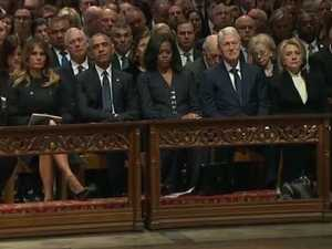Awkward front row at Bush's funeral
