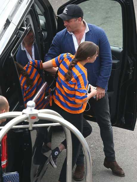 Karl Stefanovic and his kids arriving at Sydney International Airport bound for Los Angeles. Picture: Matrix Pictures