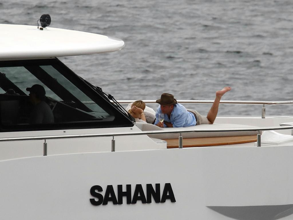 They were seen drinking and laughing on five-star yacht, Sahana. Picture: News Corp Australia