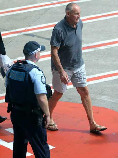 Chris Dawson arrives in Sydney. Picture: John Grainger