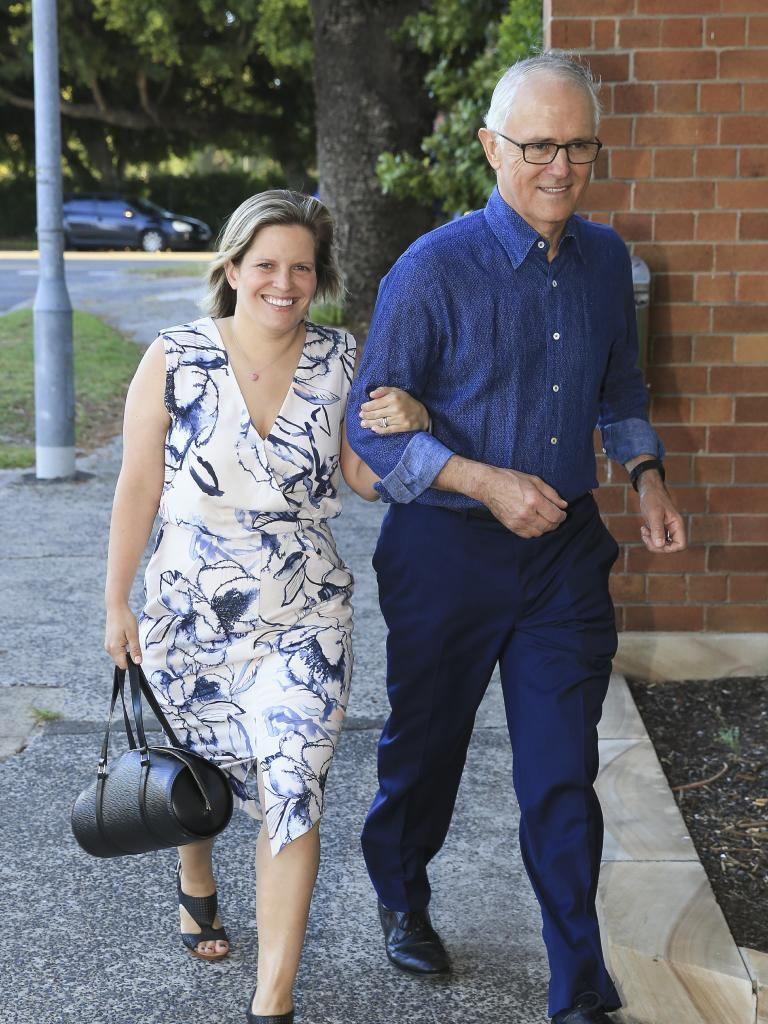 Malcolm Turnbull and his daughter Daisy arriving at the Christmas party at Club Rose Bay. Picture: Dylan Robinson