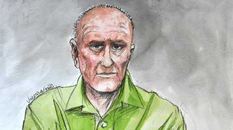 A court sketch of Chris Dawson at Central Local Court in Sydney. Credit: Vincent de Gouw