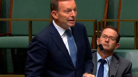 Tony Abbott speaking in parliament.