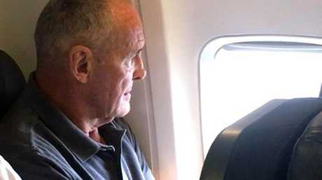 Chris Dawson on his flight to Sydney from Queensland. Picture: Seven News