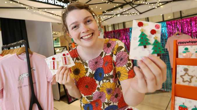 Sami Munslow at a pop-up shop in Indooroopilly Shopping Centre on Thursday. Picture: Tara Croser