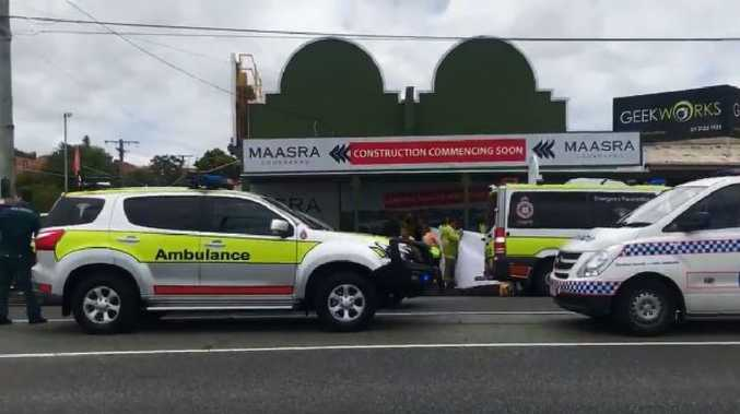A man has been critically injured after his ute smashed into a building on Old Cleveland Road. Picture: Twitter/NewsTalk4BC