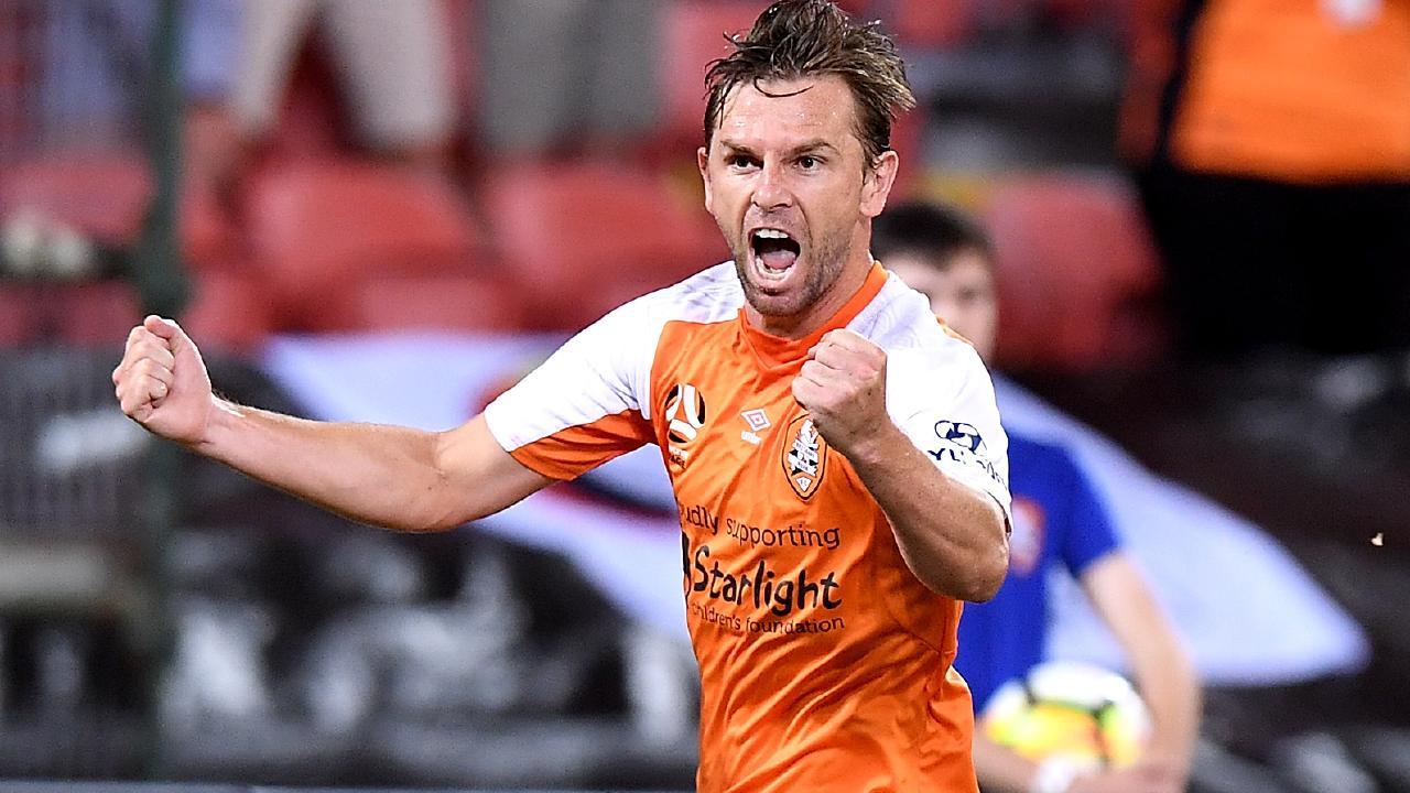 Brett Holman celebrates a goal for the Roar.