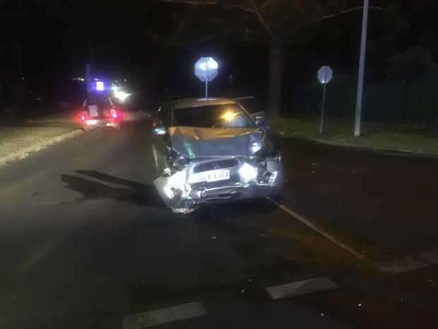 Car crashed on Jellicoe St. Photo: 7 News Toowoomba