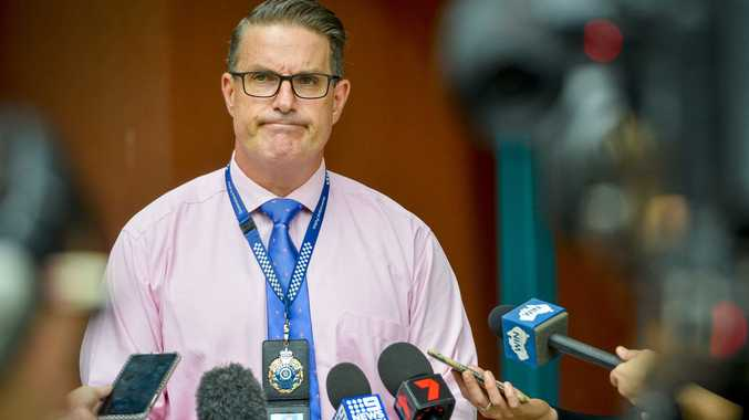 Detective Inspector Darrin Shadlow, Crime Services spoke to media about two suspicious deaths at Calliope Caravan Park off Stowe Road.