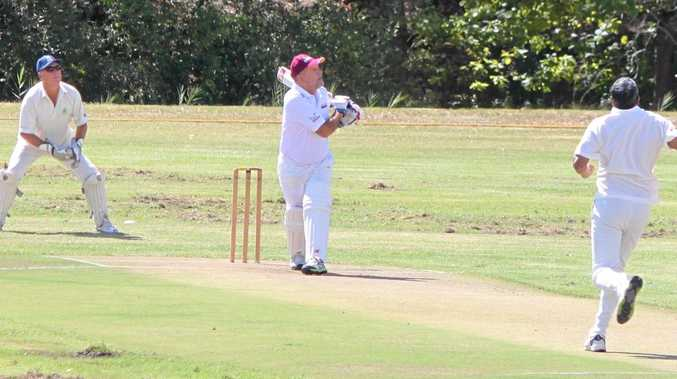 OVERWHELMING RESPONSE: Queensland Veterans Cricket vice-president and Gold Coaster Rod Rice goes for a big hit, which is exactly what the sport has become.