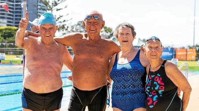 WINNING FEELING: Don Robertson, China Johnson, Patricia Wornall and Marion Beulke, with a combined age of 365, won gold in their 50m freestyle relay.