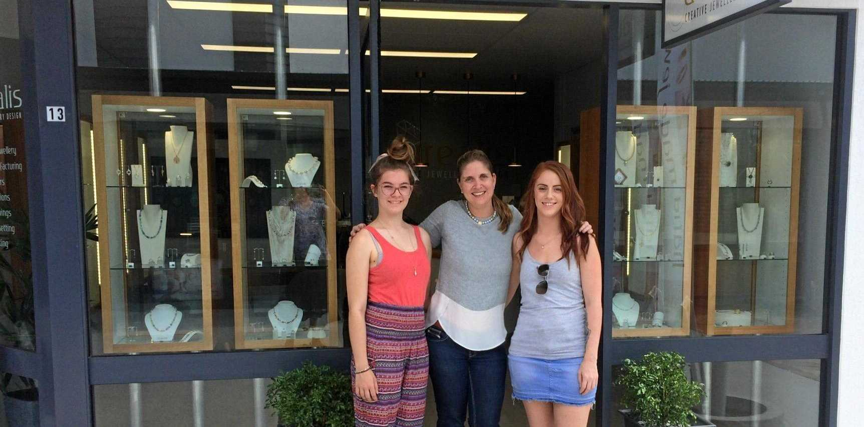 HE-ART: Sonja Scharmann with local apprentices Kloee Kendal and Lily Rogers outside her shop, Aurealis Creative Jewellery Design.