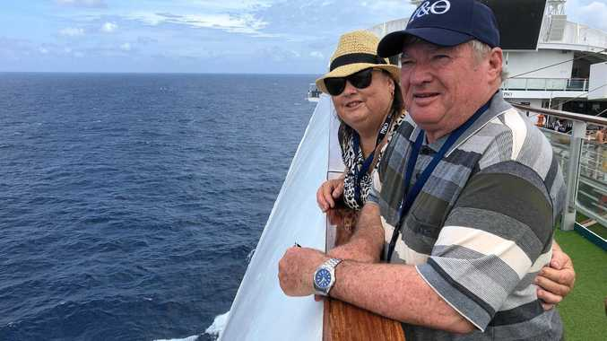 RELIEF: Drought-stricken Queensland farmers Glenda and Des Gray take a much needed break on board the Pacific Dawn Cruise from Brisbane to the Whitsundays.