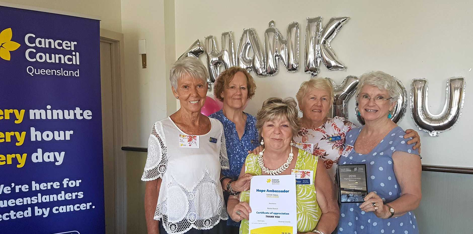 WONDERFUL EFFORT: Cancer Council Queensland Noosa Branch's Thea Holmes, Ena Murphy, Marilyn Kerr, Fay Hewson and Kathi Gow.