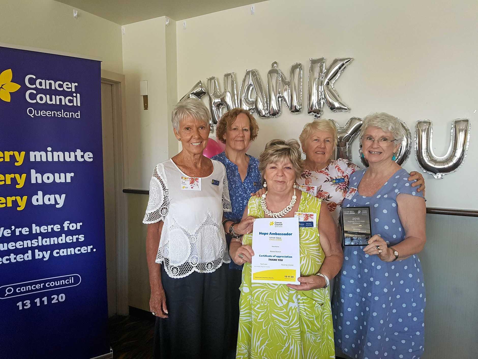 WONDERFUL EFFORT: Cancer Council Queensland Noosa Branch's Thea Holmes, Ena Murphy, Marilyn Kerr, Fay Hewson and Kathi Gow.