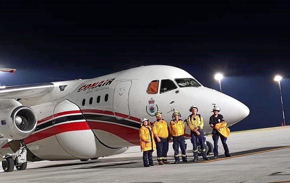 Scenic Rim Rural Fire Brigade and Prenzlau Rural Fire Brigade members worked with NSW Rural Fire Service air base operators at the Amberley RAAF base.