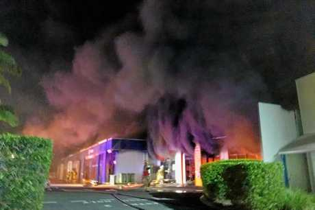 A TV repair store and adjacent buildings catch fire in Maroochydore.  Photo: Contributed