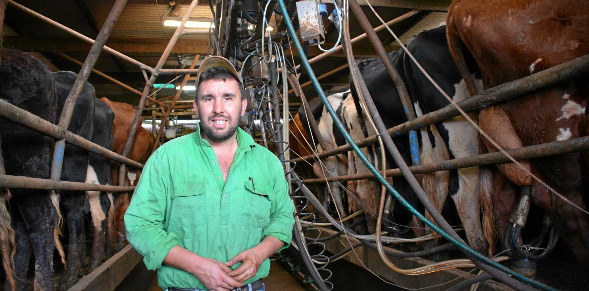 DAIRY DILEMMA: Research shows shoppers would be happy to pay more for a supermarket private label if some money went to local dairy farmers like Damien Tessman.
