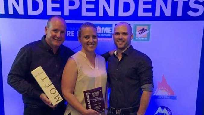 REWARDED: Killarney Co-Op Home Hardware manager Bruce Halter, with general manager Marissa Costello and Home Hardware Queensland manager Oliver Krumins.