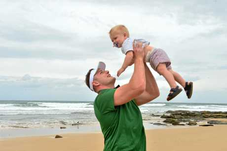 George Burgess of the South Sydney Rabbitohs NRL team visits the Sunshine Coast with his wife Joanna and their children Boston, 19 months and Birdie, 4 months to promote ticket sales to the upcomong NRL match against the NZ Warriors.