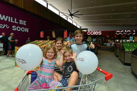 Elijah (11), Eleanor (10), Onyx (5) and Evelyn Bulley (4) at the opening of the Birtinya Shopping Centre.
