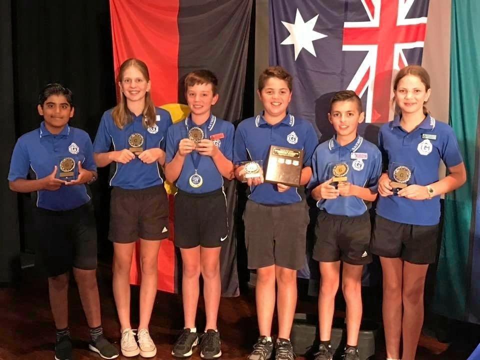 Special award winners Taimoor Tariq, Olivia Evans, Riley Davina, Kaiden Ratcliff, Jack Formica and Libby Robertson at Gayndah State School's 2018 awards night.