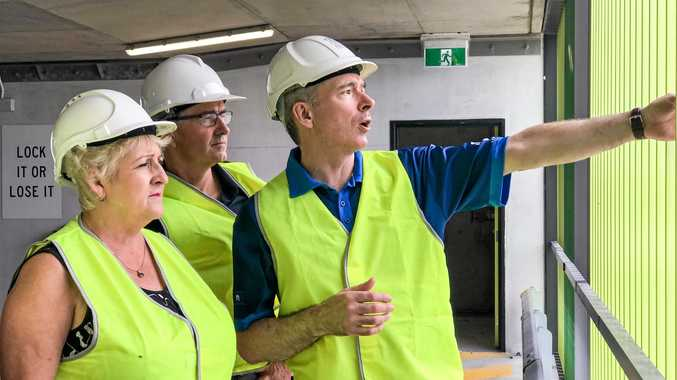 INSPECTING PROGRESS: Capricornia MP Michelle Landry with Queensland Senate candidate Gerard Rennick were happy to see Rockhampton Hospital's long awaited multi-story carpark progressing towards completion.