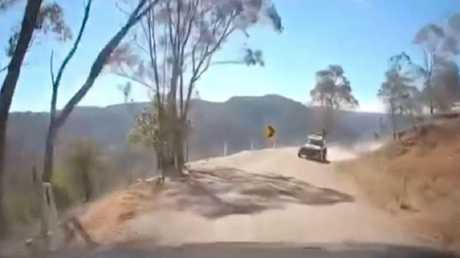 The dashcam footage showed what appeared to be police officers hooning in a buggy.