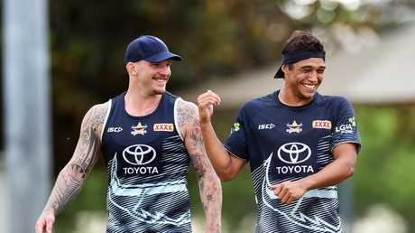 North Queensland Cowboys training from the Townsville Sports Reserve. Josh McGuire and Te Maire Martin. Picture: Zak Simmonds