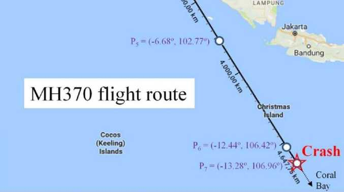 The proposed new course followed by Flight MH370 before it crashed into the Indian Ocean. Picture: Kristensen et al