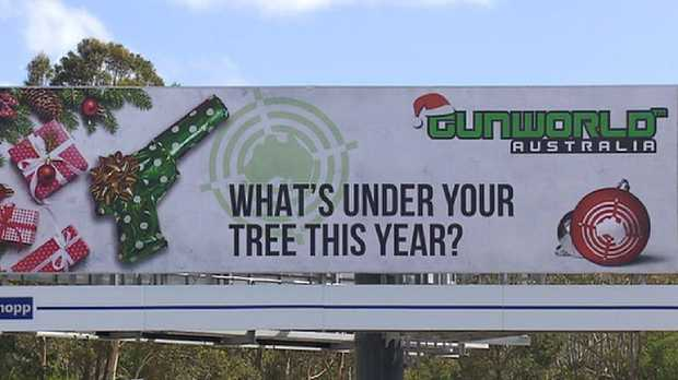 Do you think the billboard is okay or should it be taken down? Picture: 7 News/Facebook