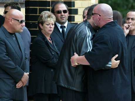 Mokbel at the funeral of hitman Andrew 'Benji' Veniamin, pictured here beside Barb Williams, mother of Carl Williams. Picture: Craig Borrow
