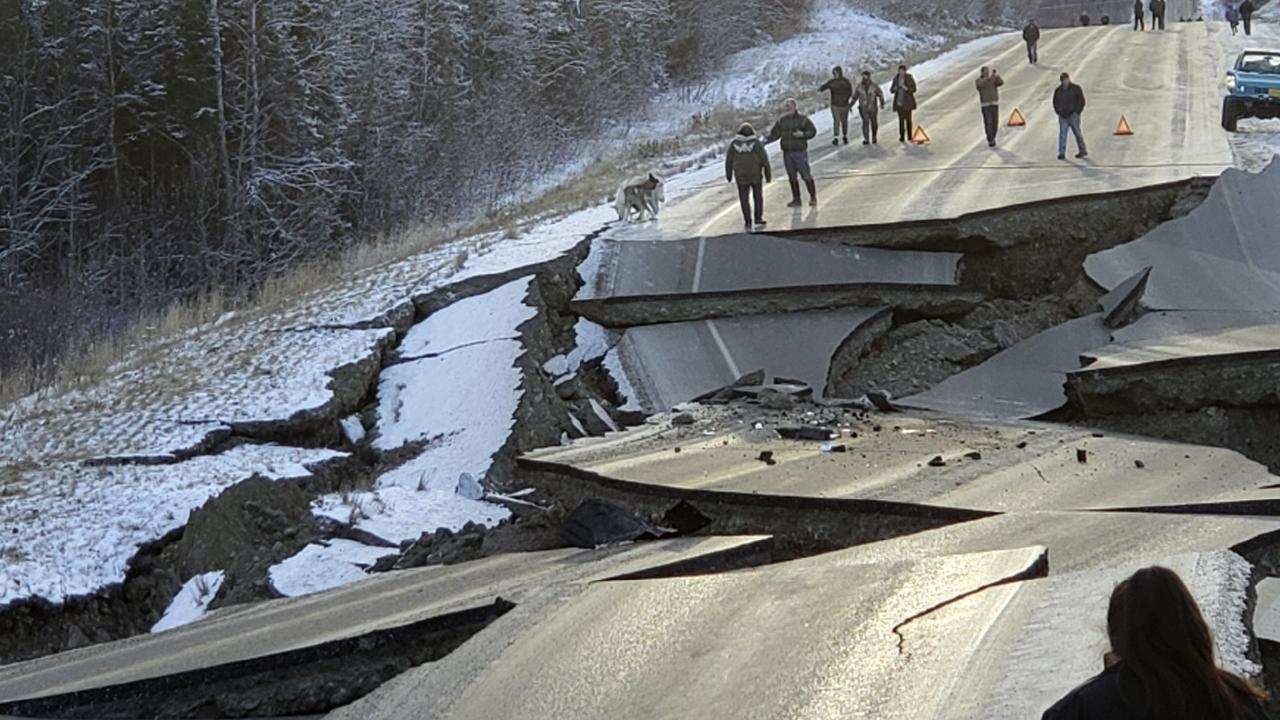 A large earthquake on November 30 caused this roadway north of Anchorage, Alaska to buckle in spectacular fashion. Picture: Jonathan M. Lettow via AP