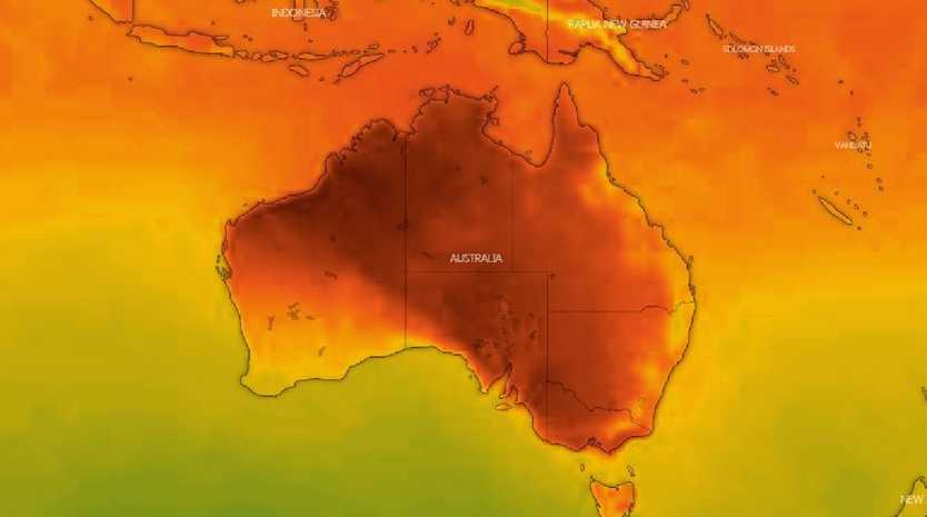 Extreme heat is plaguing south east Australia. Picture: Windy.