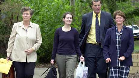Lyn Dawson's family, sister Pat Jenkins (left) and Greg Sims (second right) at the 2003 Coroner's inquest.