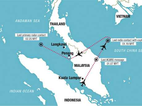 The confirmed track of Flight MH370 as recorded by military and civilian radars before it disappeared.