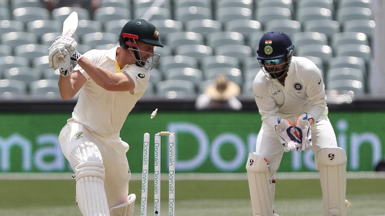 Australia's Shaun Marsh drags the ball onto his stumps. Picture: AP