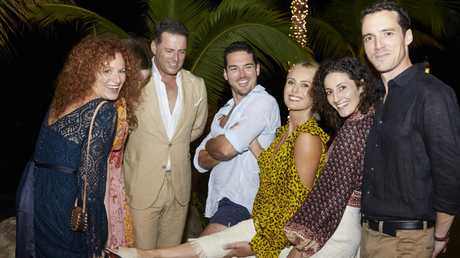 Karl's sister Elisa (left) Karl Stefanovic, Peter Stefanovic, Sylvia Jeffreys, Jenna Dinicola and Tom Stefanovic. Picture: Supplied